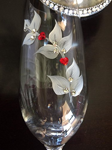 Hand Painted with Silver and Antique White Leaf Design Crystal Champagne Flutes with Swarovski Hearts and Crystals Set of 2