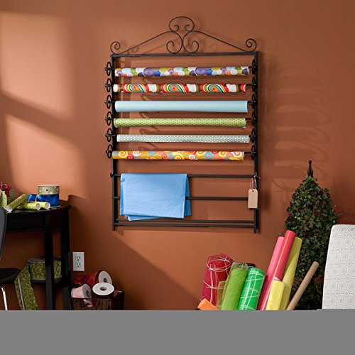 Leal Black Wrapping Paper & Craft Storage Rack comes in Movable racks by Harper Blvd