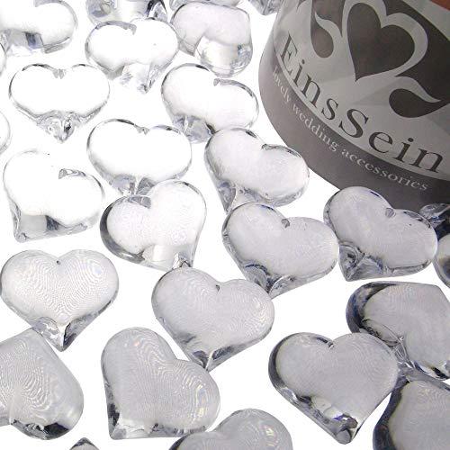 EinsSein 100x Cristales de Corazones Brillantes Acrilico 22mm Claro Boda decoracion Mesa Decoracion Corazon Abalorios abalorio Cristal San Valentin para mesas Relleno Bolas acrilicas de Decoraciones