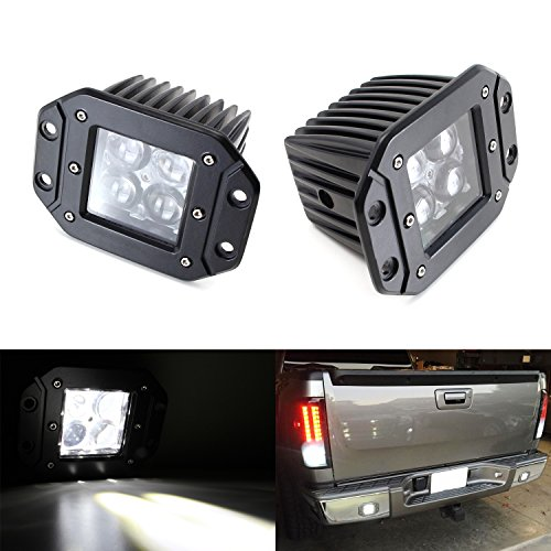 iJDMTOY (2) Dually Flush Mount 4D Optic Projector Lens CREE LED Pod Lights For Truck Jeep Off-Road ATV 4WD 4×4 As Search Lights, Fog Lights, Driving Lamps, Backup Reverse Lights, etc