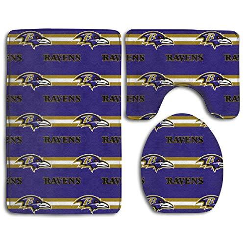 RS-pthrAB !!! Custom Colorful Doormat American Football Team Baltimore Ravens Indoor Bathroom Anti-Skid Mats,3 Piece Non-Slip Bathroom Rugs,Non-Slip Mat Bath + Contour + Toilet Lid ()