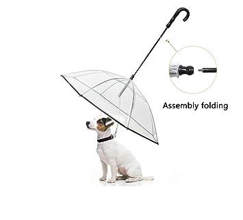 YCRD Paraguas De Mascotas Transparente Día De Lluvia Cuerda para Perros Cuerda Lluvia Asamblea Paraguas para