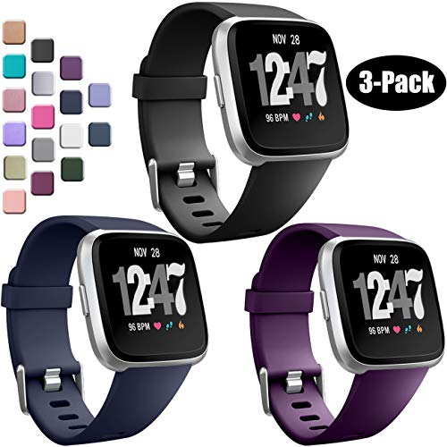 Wepro Bands Compatible with Fitbit Versa SmartWatch, Watch Replacement Band for Women Men Kids, Small, 3 Pack, Black, Navy Blue, Plum