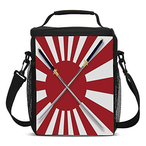 (Japanese Beautiful Children's Printed Lunch Bag,Rising Sun Inspired Japanese Flag Two Long Symbolic National Warrior Swords Design For picnic,One)