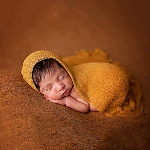 150cm,ginger yellow Newborn Baby Photography Props Blanket Rayon Stretch Knit Wraps 40