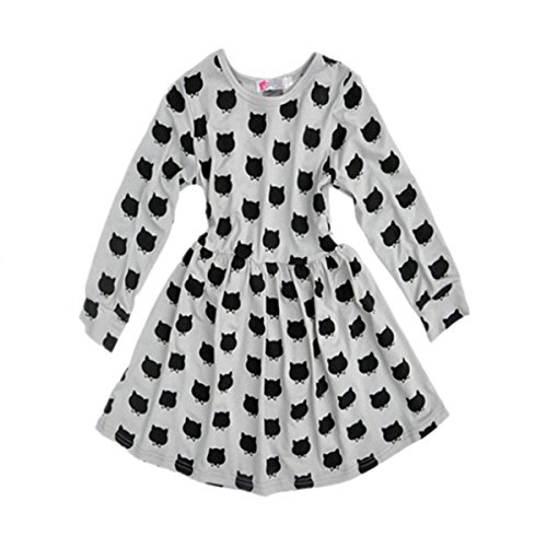 Puseky Baby Kids Girls Long Sleeve Cat Print Pleated Skirt Princess Tutu Dresses (Perfectly Princess Tutu Dress)