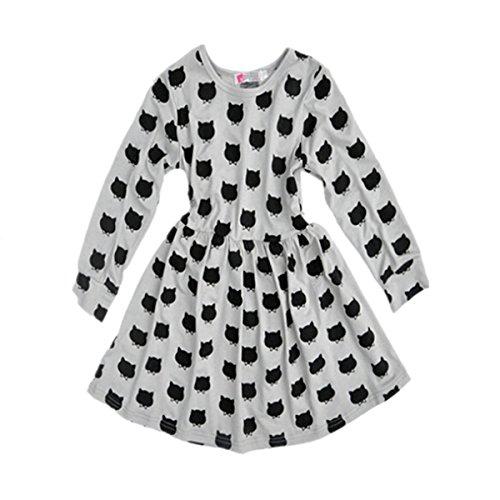 Puseky Baby Kids Girls Long Sleeve Cat Print Pleated Skirt Princess Tutu Dresses (3T-4T) (Cat Tutu)