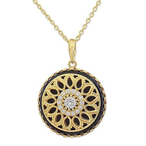 NOVICA Multi-Gem Cubic Zirconia 18 Gold Plated Silver Pendant Necklace 'Petal Grandeur in Black'