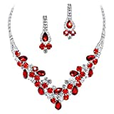 Elegant Red V-Shaped Garland Prom Bridesmaid Evening Necklace Set Silver Tone L1