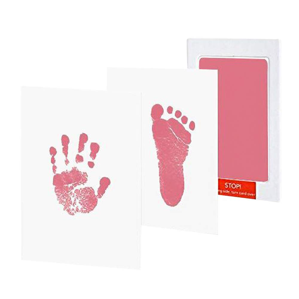 fast-shop Inkless Wipe Baby Hand Foot Print Kit Newborn Baby Handprint Kit & Footprint Photo Frame Ink Pad Keepsake for Newborn Girls and Boys Small Pink Useful and Practical