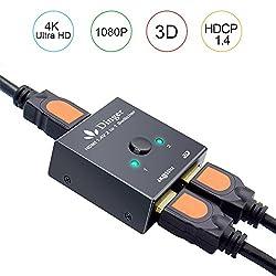 2 Port Hdmi Switch, Hdmi Port, Dinger 2 Port Hdmi Bi-direction Switch Hdmi Port Hub Supports Ultra Hd 4k 3d 1080p (2 Port Hdmi Switch)
