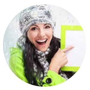alfombrilla de ratón muchacha sonriente que señala en una tarjeta en blanco y alrededor de nieva - ronda - 20cm