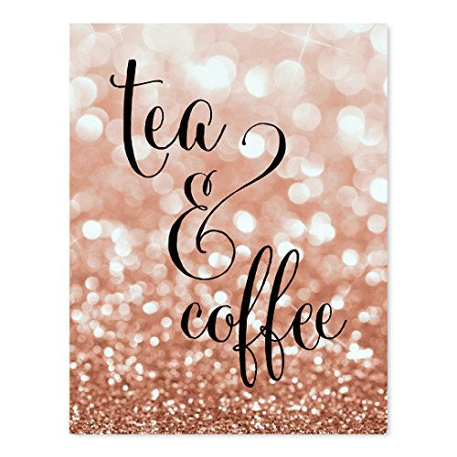 - Andaz Press Wedding Party Signs, Glitzy Rose Gold Glitter, 8.5x11-inch, Tea & Coffee Reception Dessert Table Sign, 1-Pack, Bokeh Colored Party Supplies