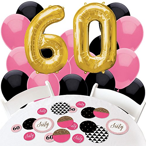 Chic 60th Birthday - Pink, Black and Gold - Confetti and Balloon Birthday Party Decorations - Combo Kit