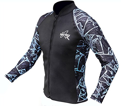 NatyFly Wetsuit Jacket Long Sleeve Neoprene Wetsuits Top For Men/Women (Blue-Lycra, - Wetsuit Top Neoprene Mens