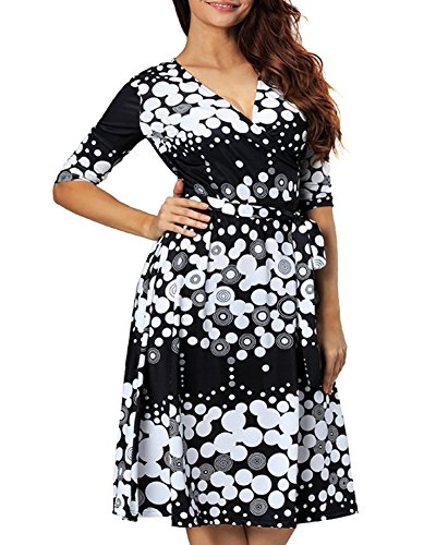 e Polka Dot 2/3 Sleeve Cocktail Evening Party Dress (XX-Large, Black) (Polka Dot Cocktail Dresses)