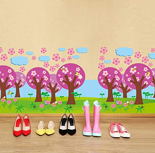 sasdasld Oriental Cherry Baseboard Stickers PVC Material DIY Tree Wall Decals for Living Room Kids Bedroom Decoration 8030cm