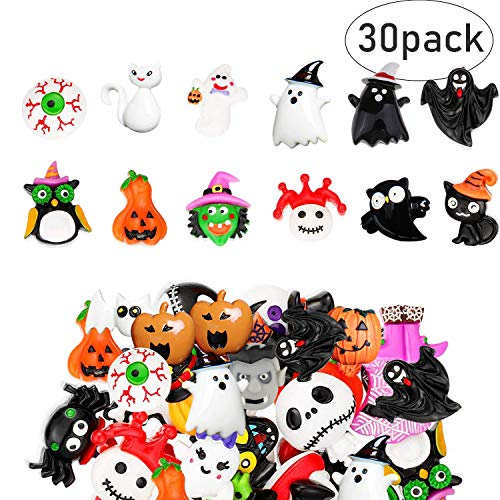 Diy Halloween Hair Bows (Slime Charms Halloween Resin Flatbacks for Scrapbook Ornaments DIY Halloween Crafts Resin Decorations - Wizard Pumpkin Lantern Ghost - (30 Piece)