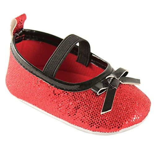 Luvable Friends Sparkly Badge Sole Mary Jane Crib Shoes, Red, 12-18 Months