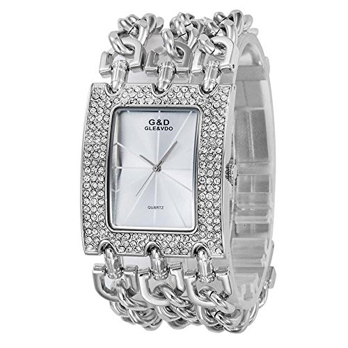Unique Design Silver Diamonds Accented Waterproof Quartz Bangle Watch,40mm (Date President White Gold Oyster)
