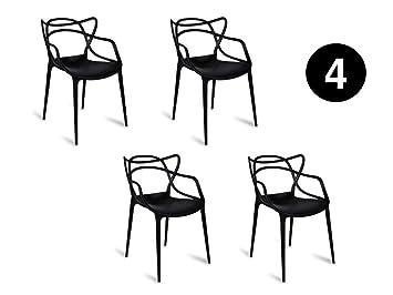 Lot De 4 Chaises Noire Inspirée Master Bureau Salon Salle A Manger Terrasse  Cuisine Exterieure Interieur