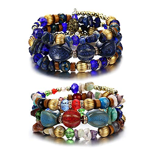 ISAACSONG.DESIGN Bohemian Multilayer Healing Stone Crystal Beads Charm Tribal Wrap Bangle Bracelet for Women (2 Pcs Colorful Beaded)