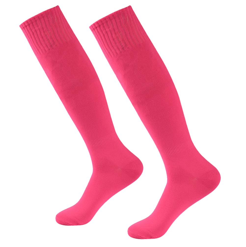 Pink Cheering Socks Knee High, Funcat Unisex Youth Soild Color Hot Breathable Quick Dry Athletic Soccer Football Tube Long Team Party Dress Socks 2 Pairs Rose Pink by Funcat