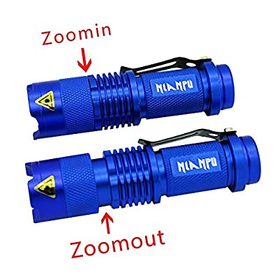 NIANPU 5 Pack Mini Cree Q5 LED Flashlight Torch 7w 350lm Adjustable Focus Zoomable Light (blue)