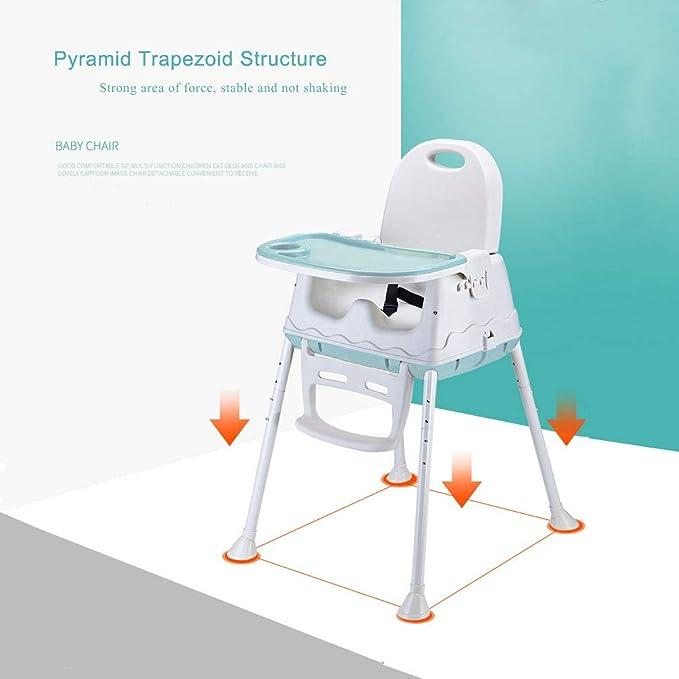 Trona Para Bebé, LADUO Trona Portatil y Convertible con 4 Ruedas, Bandeja Ajustable, Cojín Comfort para Bebé (Azul)