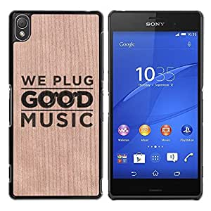- Good Music Text Dj Play - - Funda Delgada Cubierta Case Cover de Madera FOR Sony Xperia Z3 BullDog Case