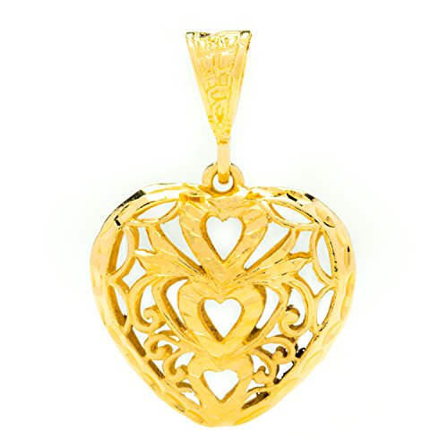 Lifetime Jewelry Pendant Necklace [ Filigree Heart Pendant ] up to 20X More 24k Gold Plating Than Other Necklace Chain - Free Lifetime Replacement Guarantee - Comes with 20 inch - Jewelry Charm Nugget Pendant