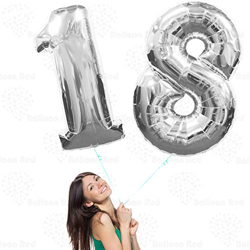 18th 20th Giant Helium Foil Mylar Glossy Silver Balloons Banner for Birthday Party Decorations (Premium Quality), 40 Inch / 100 cm, Shiny Chrome Silver, 1 8 2 0, 1st 2nd 8th 10th 12nd 21st 28th 80th