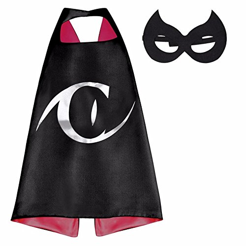 Athena Superheroes Dress Up Catwoman Eye Logo Cape and Mask Gift Box Included (Catwoman Costume Sale)
