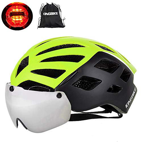 (KINGBIKE Bike Helmet Bicycle Helmets Cycling for Adults Men Women Youth Detachable Magnetic Visor Shield Goggles UV4000 Protection LED Rear Light MTB Road Commute Street Specialized)