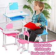 Kids Desk and Chair Set, Height Adjustable Children's Sturdy Table, Student School Desks with Bookstand an