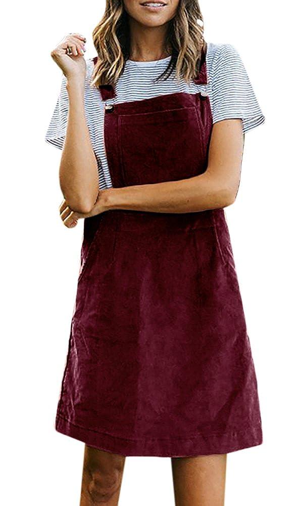 Hestenve Women A Line Adjustable Shoulder Straps Mini Bib Overall Dress With Pockets by Hestenve