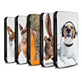 STUFF4 PU Leather Wallet Flip Case/Cover for Apple iPhone 8 / Multipack Design / Funny Animals Collection