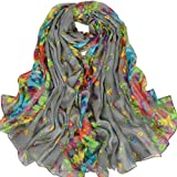 Aven Women Classy Voile Print Colorful Flowers Long Scarf Shawl Wrap Color Grey
