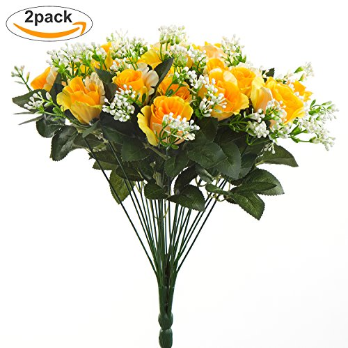 Fall Rose (Artificial Flowers,Budding Joy 2pcs Fake Flowers Bouquet 24 Heads Silk Roses Bridal Home Garden Office Dining Table Wedding Decor (Yellow))