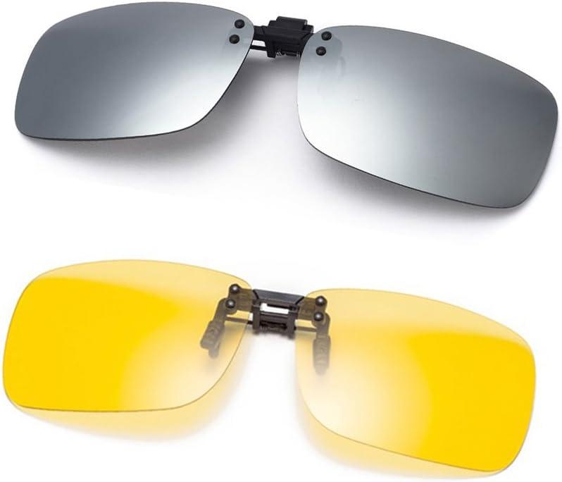 Cyxus [2 Paquetes (Clip On) Gafas polarizadas,Hombres/Mujeres sin Aros al Aire Libre Gafas de protección para esquí/Bicicleta/Correr/Conducir/Golf, Plata y visión Nocturna