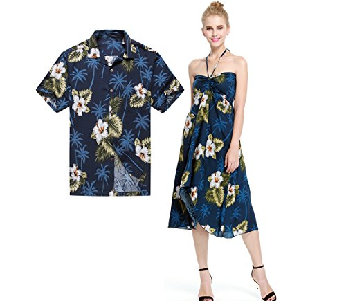 Couple Matching Hawaiian Luau Party Outfit Set Shirt Dress in Green Palm in Navy Men XL Women M (Couples Outfit)
