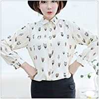 Litetao Womens Girls T-shirt Trendy Collar Top Owl Print Chiffon Long Sleeve Blouse