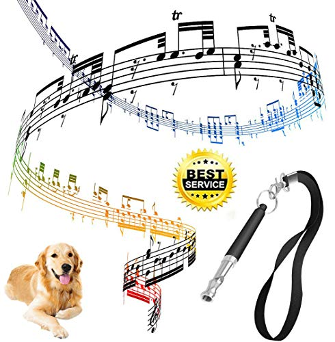Belovelife Dog Whistle to Stop Barking, Adjustable Pitch Ultrasonic  training tool Silent Bark Control for Dogs with 1 Lanyard Strap and 1 Bag