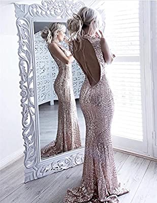 YSMei Women's Long Mermaid Sequins Evening Dresses Scoop Prom Formal Gown YPM03