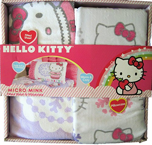 Hello Kitty Snow Kitty Micro Mink Twin Fitted Sheet and Pillowcase Set