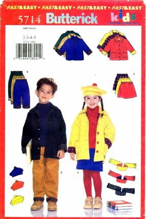 Butterick 5714 Sewing Pattern Girls Boys Toddlers Jacket Skirt Pants Hat Scarf Size 2 - 5 (Sewing Boy Clothes compare prices)