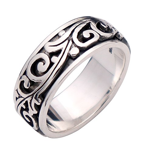 For Fox Mens Vintage 925 Sterling Silver Filigree Wave Leaf Spinner Band Ring 9mm Size 11 -