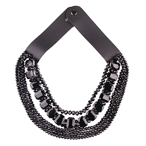 LOHOME Fashion Leather Chain Multi-level Bead Tassel Collar Statement Necklace for Women