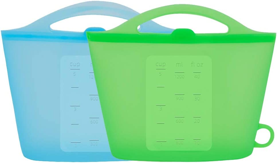 Silicon Reusable Food Storage Bags Upgrade Second Generation Buckle Containers Storage,100% Silicone Food Grade Soft Foldable Storage,Rounded Handle for Easy Protable