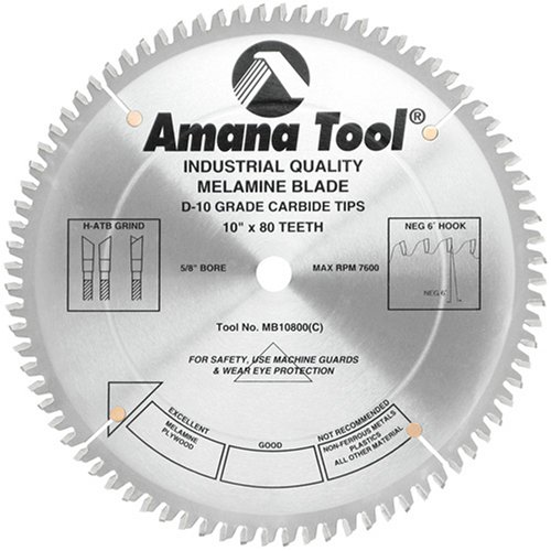 (Amana Tool - MB10800 Carbide Tipped Double-Face Melamine 10